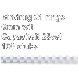 Bindrug GBC 6mm 21rings A4 wit 100stuks