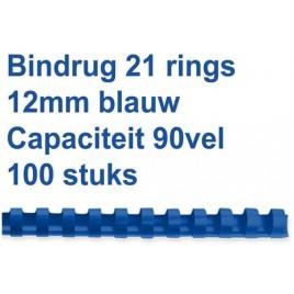 Bindrug GBC 12mm 21rings A4 rood 100stuks