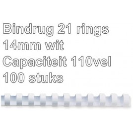 Bindrug GBC 14mm 21rings A4 wit 100stuks