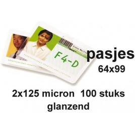 Lamineerhoes GBC IBM card 59x83Mm 2x125micron 100stuks