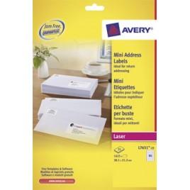 Avery Witte laseretiketten QuickPeel - 38,1 x 21,2 mm (b x h), 1.625 stuks, doos van 25 blad