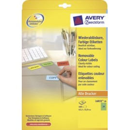 Avery afneembare gekleurde etiketten - 63,5 x 33,9 mm (b x h)