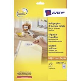 Avery afneembare witte etiketten - 25,4 x 10 mm (b x h)